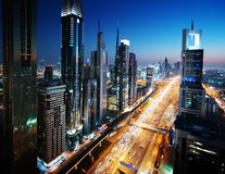 Dubai skyline in sunset time Royalty Free Stock Images