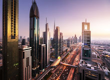Dubai skyline in sunset time Royalty Free Stock Image