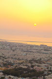 Dubai skyline at sunset Royalty Free Stock Image