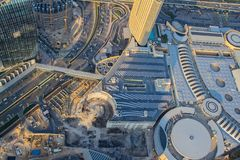 Dubai skyline and traffic route as aerial view.  stock photography