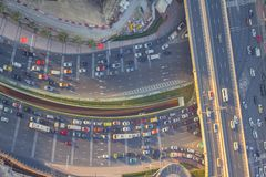 Dubai skyline and traffic route as aerial view.  stock image
