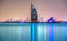 Dubai Skyline, Dubai, UAE. Dubai Skyline with Burj Al Arab at dusk, Dubai, UAE stock photos