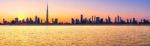 Dubai Skyline, Dubai, UAE. Dubai Skyline at dusk with Burj Khalifa, Dubai, UAE Stock Image