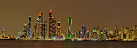 Dubai Skyline. Dubai (UAE) skyline at night Stock Image