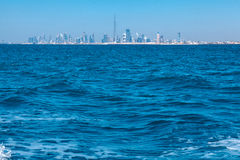 Dubai skyline. Viewed from boat, United Aarab Emirates stock photos