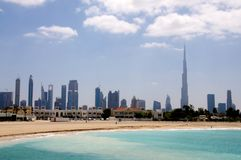 Dubai beach and skyline Stock Photography