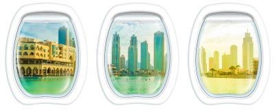 Dubai skyline on window Stock Photo