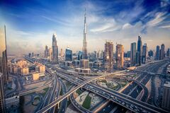 Free Dubai Skyline With Beautiful City Close To It S Busiest Highway On Traffic Stock Images - 78032294