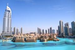 Dubai-Skylinetageszeit Lizenzfreie Stockbilder
