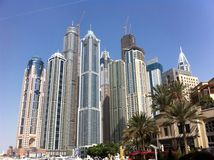 Dubai skyscrapers. Many skyscrapers in Dubai Royalty Free Stock Images