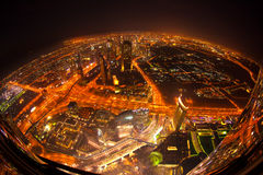 Dubai with skyscrapers at the night, UAE Stock Photography