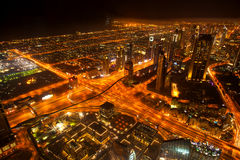 Dubai with skyscrapers at the night, UAE Royalty Free Stock Photo
