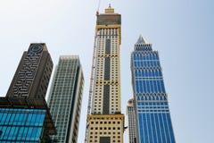 Dubai skyscrapers rising into the sky Royalty Free Stock Photography