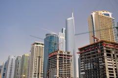 Dubai skyskrapas horisont Arkivfoton
