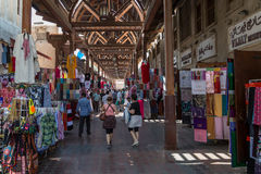 Dubai Souk. Souk is a traditional market in Dubai, United Arab Emirates. The souk is located in the heart of Dubais commercial business district in Deira, in the Stock Images