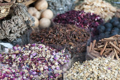 Dubai Spice Souk. A lot of different spices on the Dubai spice souk Stock Photography
