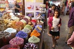 Dubai Spice Souk. DUBAI, UAE - DECEMBER 10, 2017: People visit the Spice Souk in Dubai, UAE. The traditional spice market is located in Deira district of Dubai Stock Photography