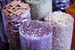 Dubai Spice Souk. Or the Old Souk is a traditional market  in Dubai, United Arab Emirates (UAE), selling a variety of fragrances and spices Stock Photo