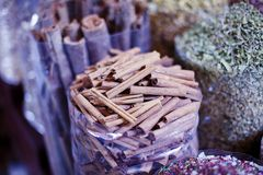 Dubai Spice Souk. Or the Old Souk is a traditional market  in Dubai, United Arab Emirates (UAE), selling a variety of fragrances and spices Stock Photography