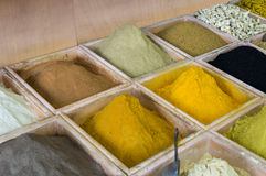 Dubai spices suk. Dubai spices - dried herbs flowers spices in the street shop. Close uo Royalty Free Stock Photo