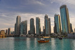 Dubai springbrunn i centrum Royaltyfri Fotografi