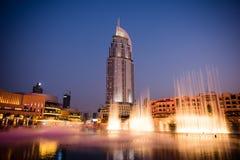 Dubai springbrunnshow på den Dubai gallerian Royaltyfri Bild