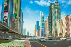 Dubai street traffic Stock Photo