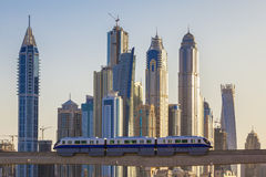 Dubai with subway and skyscrapers Stock Photography