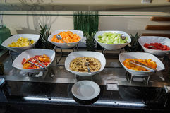 Dubai. Summer 2016. All inclusive morning breakfast at the Ghaya Grand Hotel. Stock Photos