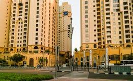 Dubai. In the summer of 2016. Construction of modern skyscrapers in Dubai Marina on the shore of the Arabian Gulf. Stock Photo