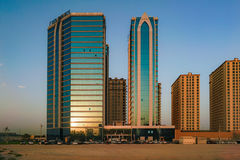 Dubai. Summer 2016. Development of desert areas, new housing in the city of Dubai, near the new hotel Ghaya Grand. Stock Photography