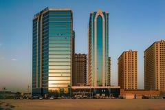 Dubai. Summer 2016. Development of desert areas, new housing in the city of Dubai, near the new hotel Ghaya Grand. Stock Photography