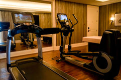 Dubai. Summer 2016. Exercise machines in the gym of Four Seasons hotel Jumeirah Royalty Free Stock Photos
