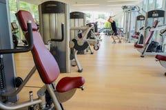 Dubai. Summer 2016. Exercise machines in the gym of Park Hyatt Abu Dhabi Hotel. Stock Photo