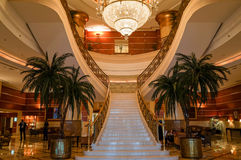 Dubai. Summer 2016. The interior with marble stairs in hotel Hilton Sharjah. The interior with marble stairs in hotel Hilton Sharjah Stock Photos