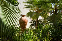 Dubai. In the summer of 2016. A large amphora in palm oasis of the Park Hyatt Abu Dhabi Hotel, on the Persian Gulf. Royalty Free Stock Photos