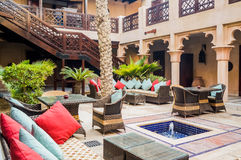 Dubai. Summer 2016. Living a green oasis on the site of Madinat Jumeirah Mina A Salam. A huge copper jug. Living a green oasis on the site of Madinat Jumeirah Royalty Free Stock Images