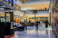 Dubai. Summer 2016. The luxurious interior of marble largest shopping store Dubai Mall Royalty Free Stock Image