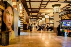Dubai. Summer 2016. The luxurious interior of marble largest shopping store Dubai Mall Royalty Free Stock Photo