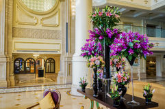Dubai. In the summer of 2016. Modern and bright interior marble decoration in the hotel Ritz Charlton Abu Dhabi. Royalty Free Stock Images