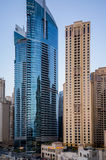 Dubai. Summer 2016. Modern skyscrapers in urban city style Dubai Marina royalty free stock images