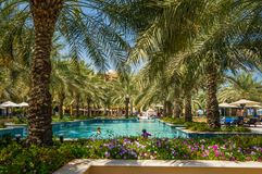 Dubai. In the summer of 2016. Oasis of the Hilton Ras Al Khaima hotel on the Persian Gulf. Oasis of the Hilton Ras Al Khaima hotel on the Persian Gulf Stock Photography