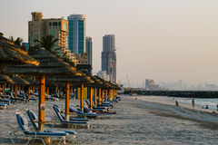 Dubai. In the summer of 2016. Oasis of the Kempinski hotel on the Persian Gulf, Ajman. Stock Photos