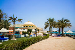 Dubai. In the summer of 2016. Oasis of the Kempinski The Palm hotel on the Persian Gulf, Jumeirah. Oasis of the Kempinski The Palm hotel on the Persian Gulf Royalty Free Stock Photos
