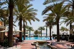 Dubai. In the summer of 2016. Oasis of the Kempinski The Palm hotel on the Persian Gulf, Jumeirah. Oasis of the Kempinski The Palm hotel on the Persian Gulf Stock Image