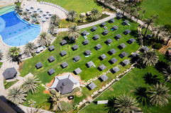 Dubai. In the summer of 2016. Oasis of the Le Royal Meridien Beach Resort Spa hotel on the Persian Gulf, Jumeirah. Oasis of the Le Royal Meridien Beach Resort stock photography