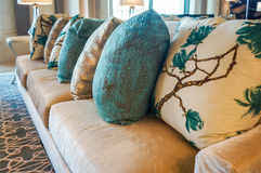 Dubai. Summer 2016. Painted embroidery on the cushions in hotel interior Four Seasons at Jumeirah. Painted embroidery on the cushions in hotel interiors Royalty Free Stock Images