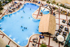 Dubai. Summer 2016. Pool people a view from the top of the hotel Hilton Dubai The Walk. Pool people a view from the top of the hotel Hilton Dubai The Walk Stock Photos
