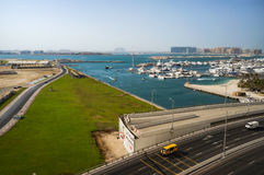 Dubai. Summer 2016. View from the outskirts of Dubai Marina the Arabian Gulf and the construction of new modern facilities. Royalty Free Stock Photo