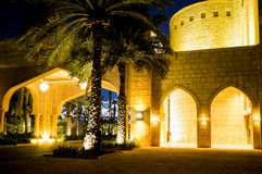 Dubai. In the summer of 2016. A water oasis in the evening on the territory of Madinat Jumeirah Mina a Salam. A water oasis in the evening on the territory of Stock Photo
